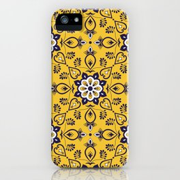 Mexican tile pattern seamless vector with mosaic ornaments iPhone Case
