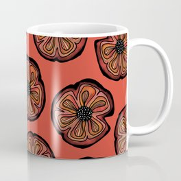 Rusted Poppy Pattern - red and brown poppies autumn fall Coffee Mug