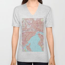Vintage Map of Jacksonville Florida (1964) Unisex V-Neck