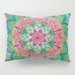 Pink Flower Mandala Pillow Sham
