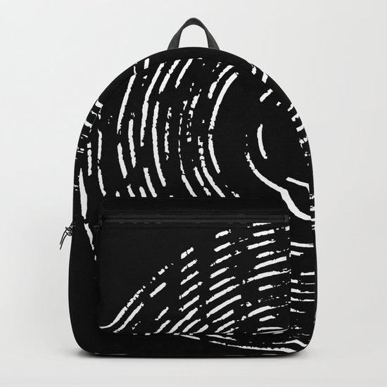 Record White on Black Backpack
