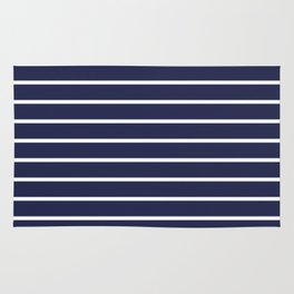 Navy White Stripe Pattern Rug