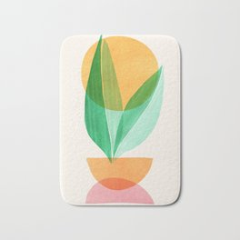 Summer Stack / Abstract Plant Illustration Bath Mat