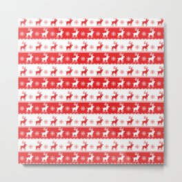Knitted Red White Reindeer Metal Print