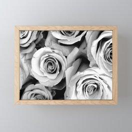 Black and White Roses Framed Mini Art Print