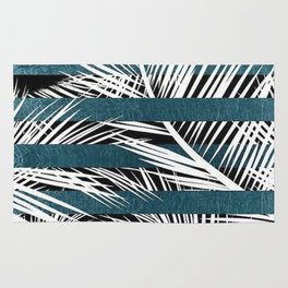 White Palms and Teal Lines Rug