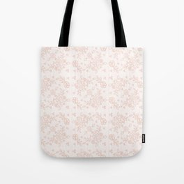Elegant pink white pastel color chic floral lace Tote Bag