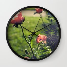 Poppies in the Afternoon Wall Clock