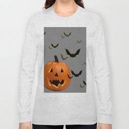 HALLOWEEN FLYING  BLACK BATS & CARVED PUMPKIN FACE Long Sleeve T-shirt