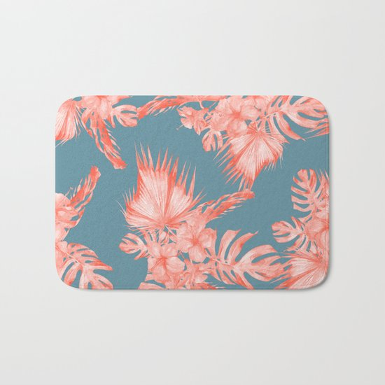Dreaming of Hawaii Pale Coral on Teal Blue Bath Mat