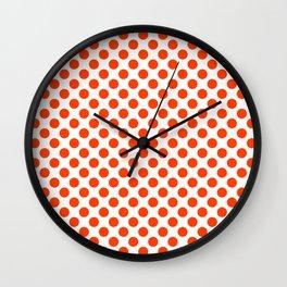 Orange and white polka dots pattern Wall Clock