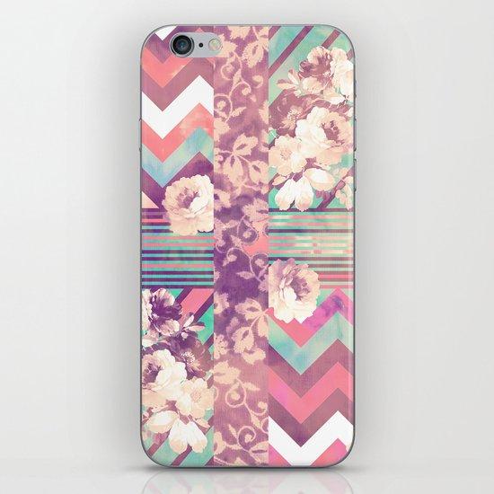 Retro Pink Turquoise Floral Stripe Chevron Pattern iPhone & iPod Skin