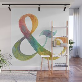 ampersand - in watercolor rainbow Wall Mural