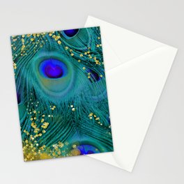 Teal Peacock Feathers Stationery Cards