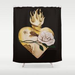 Honeycomb Heart Shower Curtain