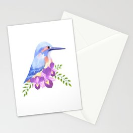 Purple orchids and common kingfisher on perennial flower Stationery Cards