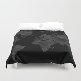 """Black and gray watercolor world map """"Coal mine"""" Duvet Cover"""