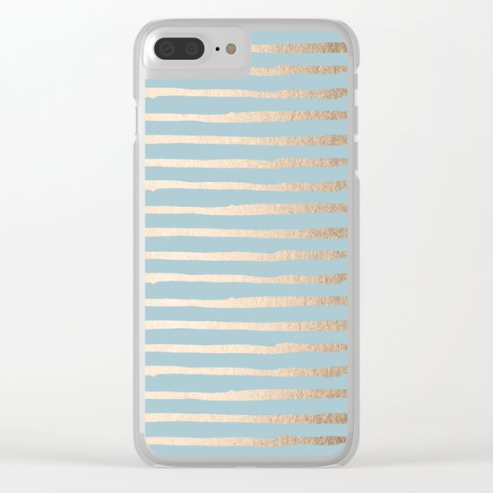 Abstract Stripes Gold Tropical Ocean Sea Blue Clear iPhone Case