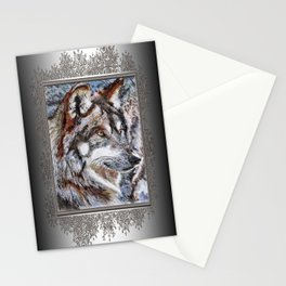 Gray Wolf Watches and Waits Stationery Cards