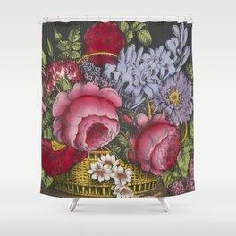 Vintage Floral Basket Illustration (1872) Shower Curtain