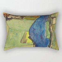 """Egon Schiele """"Stadt am blauen Fluss (Town on the blue river)"""" Rectangular Pillow"""