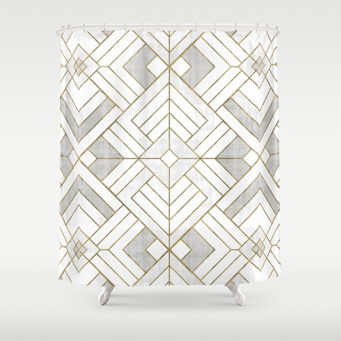 Lennox Vintage Deco - White & Gold Shower Curtain