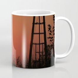 Blazing Red Kansas Windmill Silhouette Coffee Mug