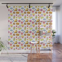 Watercolor cute children desserts seamless patterns Wall Mural