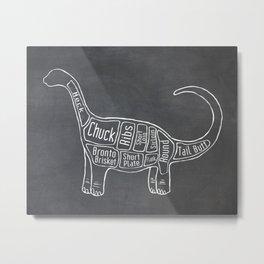 "Brontosaurus Dinosaurus (A.K.A Apatosaurus ""Big Cow"") Butcher Meat Diagram Metal Print"