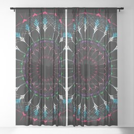 Sacred Geometry radial Mandala Sheer Curtain