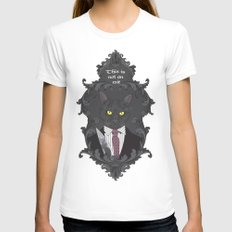 American Psycho Kitty Womens Fitted Tee White SMALL