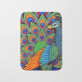 Colorful Paisley Peacock Rainbow Bird Bath Mat