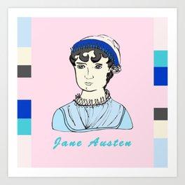 Jane Austen - hand-drawn portrait Art Print