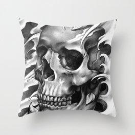 Skull & Petals Throw Pillow