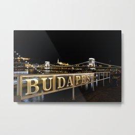 Széchenyi Chain bridge over Danube river, Budapest, Hungary. Metal Print