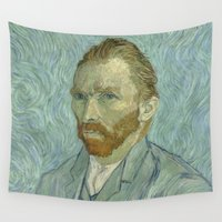 van gogh Wall Tapestries featuring Van Gogh Portrait by Color and Patterns