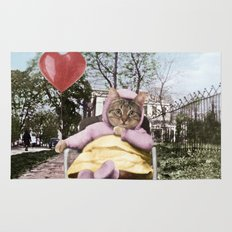 Pretty little Kitty with a heart balloon Rug