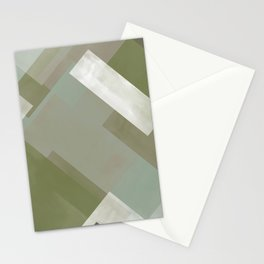Modern Abstract No. 3 | Sage, Blue-Green, Taupe, White + Peacock Stationery Cards