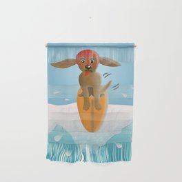 Surf Dog on Top of the Wave Wall Hanging