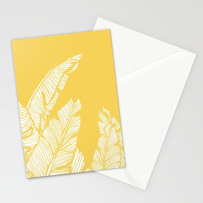 Banana Leaves on Yellow #society6 #decor #buyart Stationery Cards