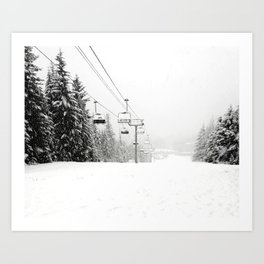Lifts waiting for action in the snow Art Print