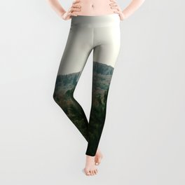 Early autumn, colorful forest and mountains Leggings
