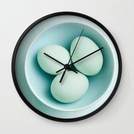 Organic eggs from Easter egger chicken Wall Clock