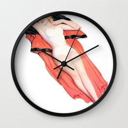 Nostalgic Pin Up Girls Blond Laying Down Bachelor Party Pinup Girl Wall Clock