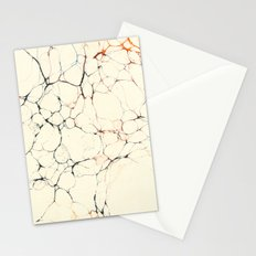 Marble Cream Blue / Orange Square # 2 Stationery Cards