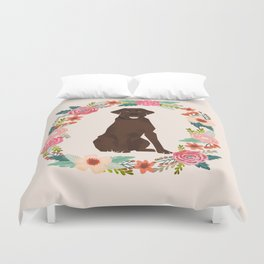 chocolate lab floral wreath flowers dog breed gifts labrador retriever Duvet Cover