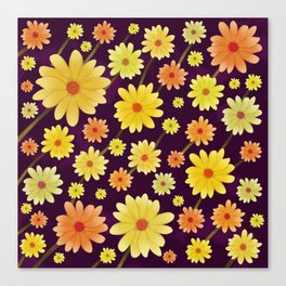 Yellow dots, Yellow Flower, Floral Pattern, Yellow Blossom Canvas Print