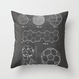 Soccer Ball Patent - Football Art - Black Chalkboard Throw Pillow