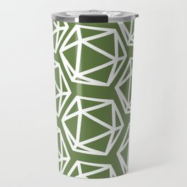 D20 Pattern - Green White Travel Mug