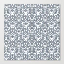 Grey Ornamental Flower & Vines Pattern Canvas Print
